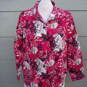 CJ Banks Button Shirt Jacket 2X 50B Floral Red